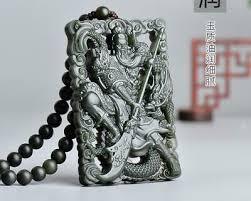 hand carved natural green jade zen guan