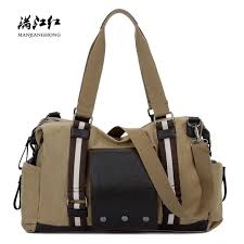 fashion canvas men travel duffle bags large casual shoulder travel bag for women patchwork leather luggage