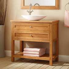 Open Shelf Vanity Bathroom Bathroom Interior Bathroom Furniture Unstained Teak Wood Trough