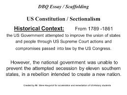 dbq essay scaffolding us constitution sectionalism ppt  dbq essay scaffolding us constitution sectionalism
