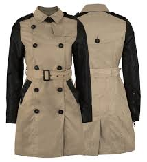 jacket gabardine belted military style coat pvc sleeve las parka camel double oned women leather sleeves