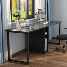 office black. Computer Desk For Two Person, Simple Modern Style Office With Storage And Cabinet Works As Study Table Or Writing Home ( Black) Black O