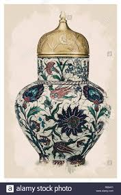 Chinoiserie Design On Pottery And Porcelain Iznik Style Chinoiserie Pottery Watercolor Series No 5f By