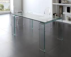 modern 160cm length tempered glass dining table with glass legs and top thumbnail