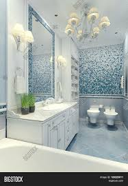 blue and white furniture. Luxury Chandelier Mirror White Furniture And Built-in Sink Toilet Blue