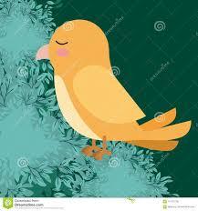 Yellow Bird Design Cute Yellow Bird In Forest Scape Scene Stock Vector