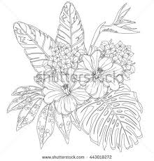 Small Picture Tropical flowers and leaves Page of coloring book for adults and