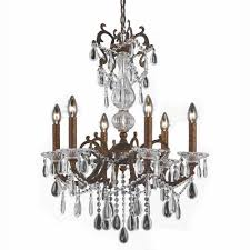 6 light bronze chandelier with crystal tear drop glass shade