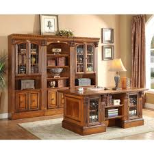 Parker House Huntington Executive Desk With Library Wall Unit For
