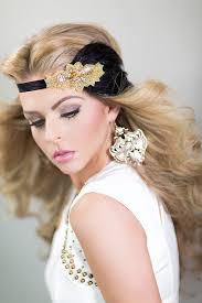gatsby headpiece in black gold 1920s hair accessory gold fascinator flapper headdress feather headband
