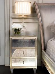 Mirrored Night Stands Bedroom Gold Nightstand In The Bedside Will Look More Shinier