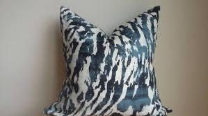 <b>Designer</b> F Schumacher indigo blue navy cream feline animal | Etsy