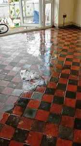 red quarry tiles floor in treharris cleaning