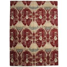 red ikat area rug for