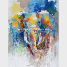 abstract colorful elephant painting on canvas animal print canvas wall art
