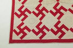 Quilt; American, Pieced, Fly Foot or Swastika, Red & White ... & American pieced quilt, late 19th to early 20th century, cotton. Red and  white Swastika pattern. Hand quilted feathered wreaths in the plain blocks,  ... Adamdwight.com