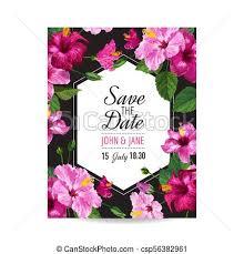 Wedding Invitations Templates Purple Wedding Invitation Template With Purple Hibiscus Flowers Save The