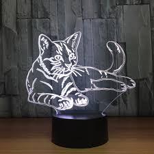 Mooie Kat 3d Nachtlampje Touch Schakelaar Led Dier 3d Lamp 7 Kleuren