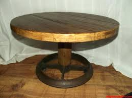 rustic log side table