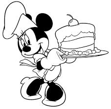 Disegno Di Minnie Con Torta Da Colorare Per Bambini Con Minnie Baby
