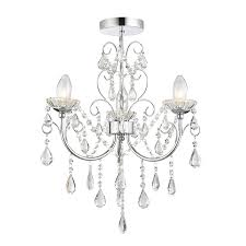 endon 61251 tabitha ip44 3 light semi flush in chrome with crystal glass detail