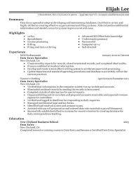 Data Entry Resume Sample Resume Writing Pinterest Data Entry