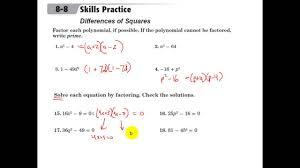 glencoe algebra 1 factoring difference of squares