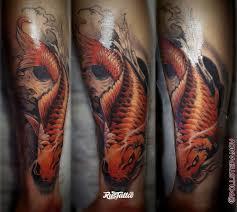 фото татуировки карп в стиле цветная япония татуировки на
