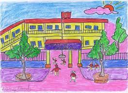 Tranh vẽ ngôi trường của em đẹp