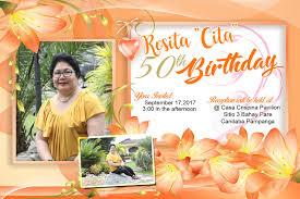 Happy 50th Birthday Tarpaulin Designs 50th Sample Invitation Layout Orange Floral Theme Layout
