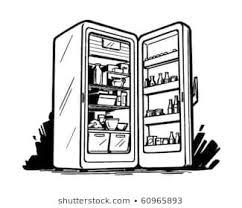 refrigerator clipart black and white. Beautiful Black Open Fridge  Retro Clip Art Throughout Refrigerator Clipart Black And White E
