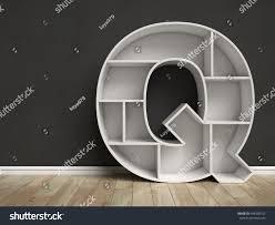 Letter Q shaped shelves 3d rendering