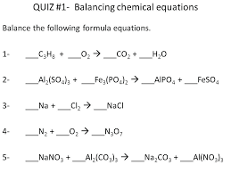 quiz 1 balancing chemical equations chemistry list pdf