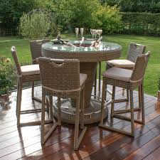 Ice Bucket Table Maze Rattan Winchester 6 Seater Round Bar Set With Ice Bucket
