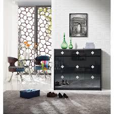 modern stylish black 3 door mdf shoe cabinet 3 drawers storage unit glass top fine finish loading zoom