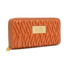 Coach Accordion Zip In Gathered Twist Large Orange Wallets FCW