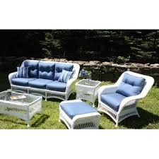 Princeton 5 Piece Outdoor Seating Group in White Wicker