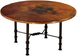 mexican copper inlaid 42 round figure eight dining table