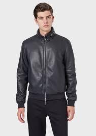 er jacket in faux plongé nappa lambskin with fold away hood