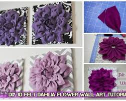 diy beautiful 3d felt dahlia flower wall art on felt flower wall art diy with felt flower canvas archives fab art diy