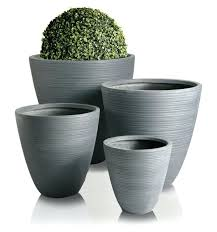 hemon grey round outdoor planter garden patio flower plant pot hemon grey round outdoor planter garden
