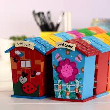Decorated Money Box Cute House Shape Money Box Daily Piggy Bank Saving Pot Wooden 31