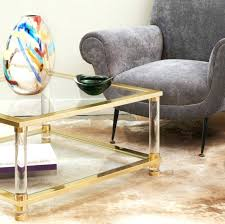 mid century brass glass coffee table jean fray two tier l square and wood round top brass and glass coffee table