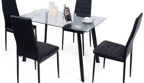 modern black set glass piece red top chairs contemporary table tempered and leather round clio delectable