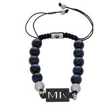 personalised custom initials blue tiger eye natural stone