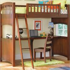 wooden loft bed with desk computer