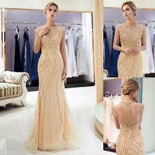 Mermaid Designer Gold Gray Mermaid Designer Evening Dresses Sheer Neck Illusion Back Luxury Beaded Sequins Prom Party Gown Formal Occasion Wear Cps1165 Corset Dresses