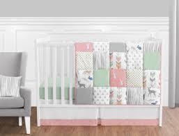 perless c mint white grey deer forest baby girl nursery bedding crib set