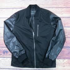 21 men an american brand medium black leather varsity jacket