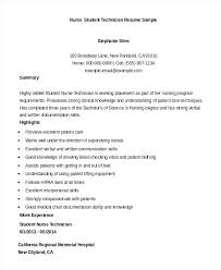 Student Nurse Resume Template Student Nurse Resume Template Free Sample Technician Student Nurse